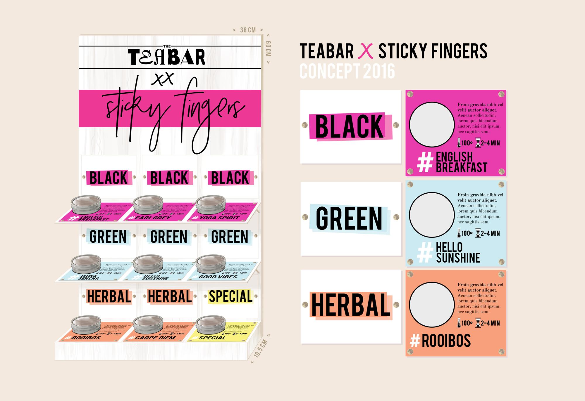 Een schets van het door Tea Bar ontworpen theemeubel voor Sticky Fingers Amsterdam