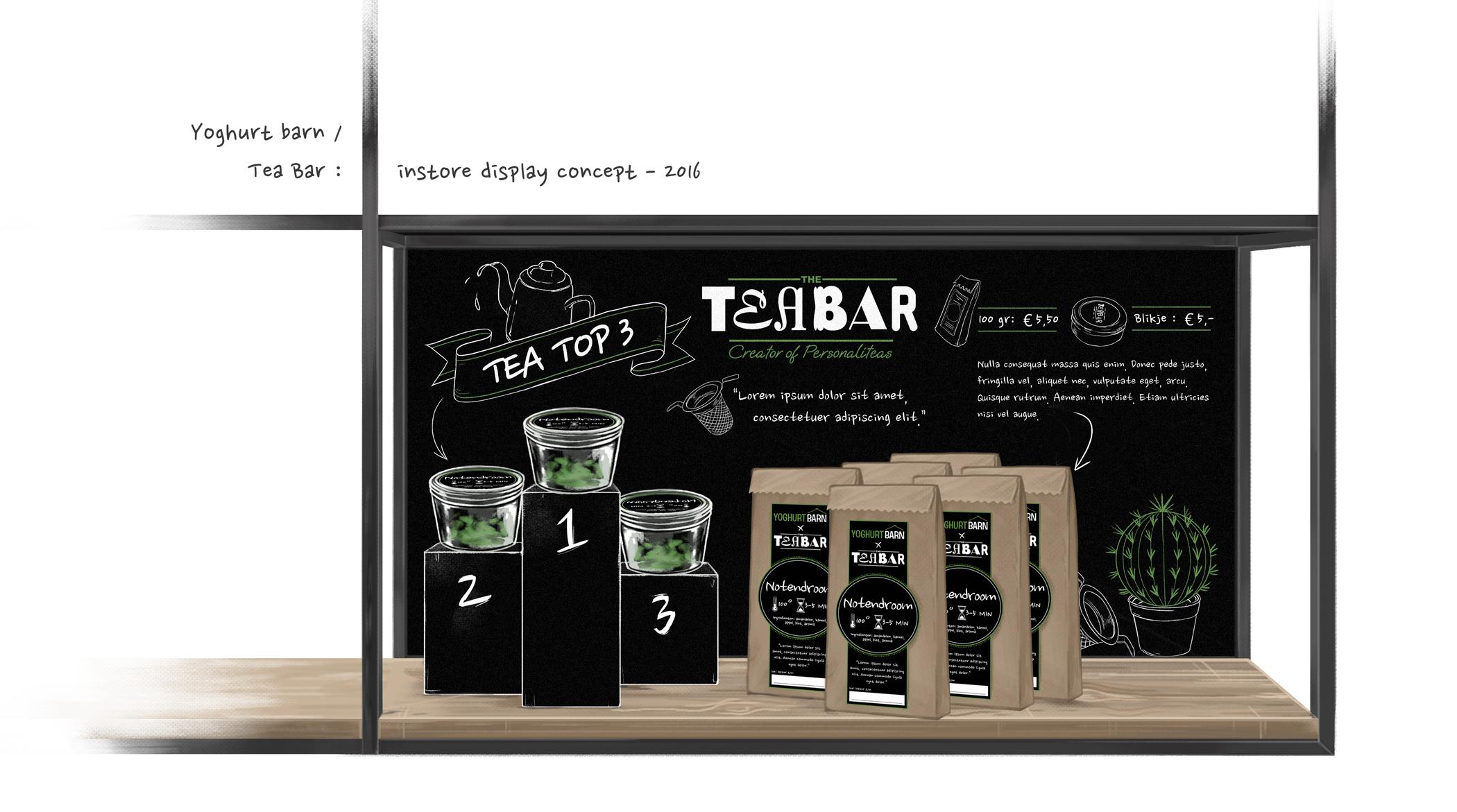 schets van Tea Bar thee verkopen in potjes en zakjes bij Yoghurt Barn