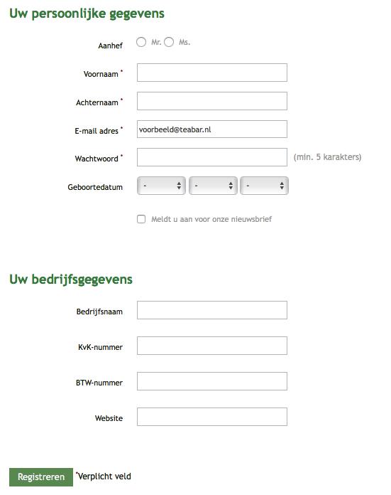 voorbeeld screenshot van registratie moment