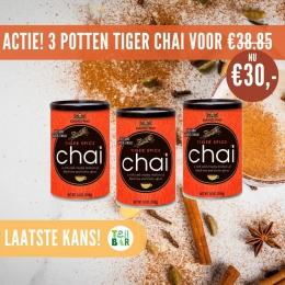 💥Bijna uitverkocht!💥 Alleen vandaag nog kun je drie potten Tiger Spice Chai scoren voor maar €30,- Shop snel je lekkerste chai voorraad voor thuis🛒🤗 Gratis verzending & vòòr 21:00 besteld is morgen in huis! De potten gaan erg hard, dus op = echt op.   #teabaroriginal #teabar #chailatte #chai #masalachai #davidrio #korting #chaitea #glutenvrij #lactosevrij #blacktea #comfortfood