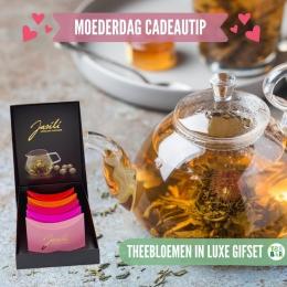 Een absolute moederdag favoriet: de prachtige theebloemen van Jasili! Deze giftset bevat vijf unieke bloemen met groene thee, die zich langzaam ontvouwen in je theepot. Dit is natuurlijk het allermooist in een glazen theepot of hittebestendige karaf 🌼  #originalteabar #moederdag #moederdagtip #moederdagcadeau #theebloem #groenethee #jasmijnbloem #rozen #lossethee #tealovers #theedrinken #theeleuten #theeliefhebbers  #theecadeau #theeset #cadeau #inspiratie