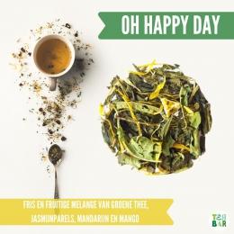 Zijn dat..🐣✨ lentekriebels?✨🌼 Daar past een fris en fruitige thee bij! De Happy Day is een heerlijk melange van verveine, groene thee en mango en brengt het  zonnetje in je kopje 🌞  #originalteabar #teabar #verveine #citroenverveine #verbena #groenethee #lossethee #looseleaftea #tealovers #theeleuten #theeliefhebbers #greentea #lentekriebels