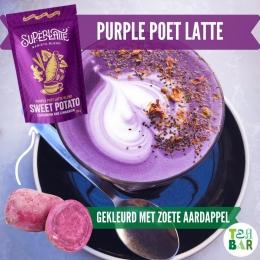 Purple Poet Latte, een unieke blend op basis van biologische paarse zoete aardappel, kruidige kardemom, pittige gember en verwarmende kaneel. Met deze latte voeg je een vleugje magie toe aan je dag✨ Voeg alleen warme melk (vervanger) toe en enjoy! Alle Superlatte blends zijn natuurlijk gekleurd door de ingrediënten, vegan en glutenvrij💜  #originaleabar#plantbased #sweetpotatolatte #purplepoetlatte #zoeteaardappel #paarseaardappel #purplepotato #superlatte #vegandrinks #veganlatte #colouredlatte #naturalfood #organic